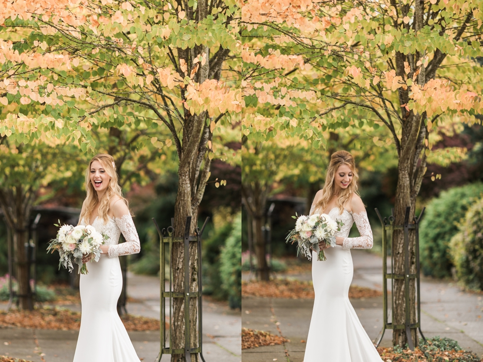 Photo of bride holding her wedding bouquet before her intimate wedding at Belle Chapel in Snohomish, a wedding venue near Seattle. | Joanna Monger Photography | Snohomish & Seattle Photographer