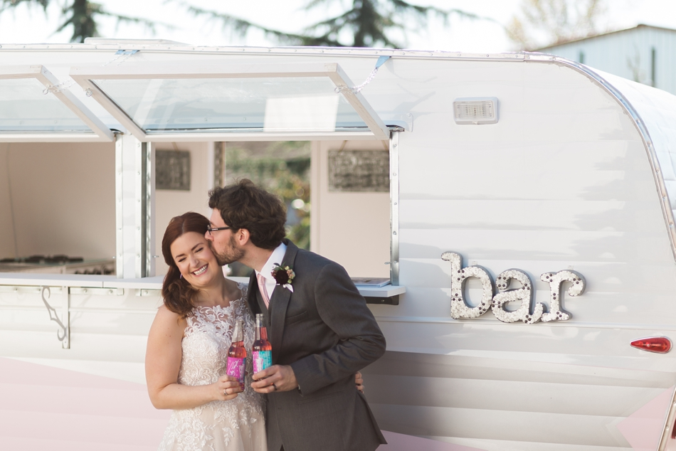 Photo of couple and vintage trailer at Snohomish Wedding Venue Dairyland Barn near Seattle | Joanna Monger Photography