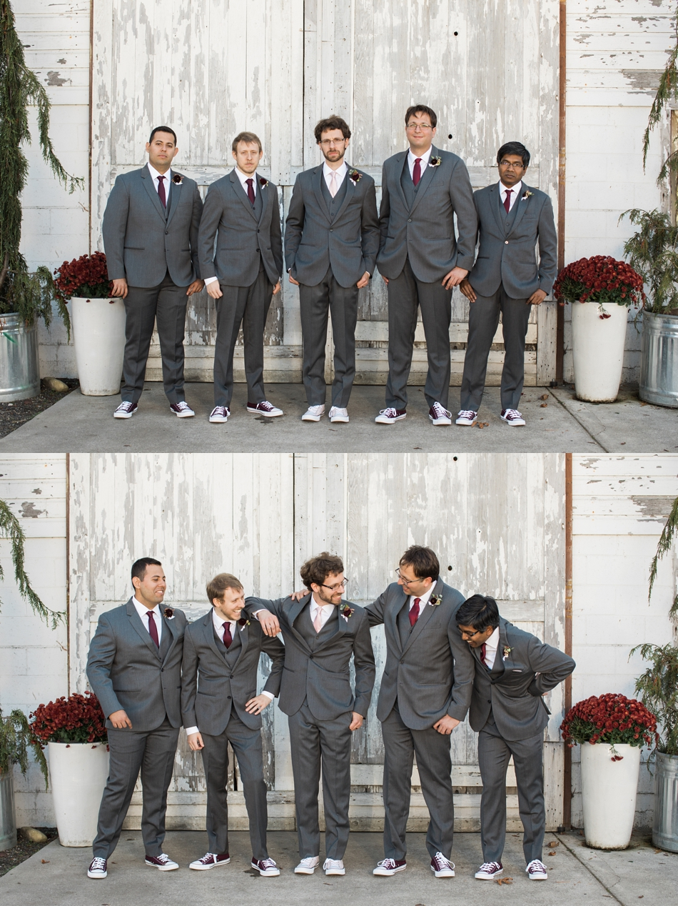 Photo of groom and groomsmen in front of white-wash barn at Snohomish Wedding Venue Dairyland Barn near Seattle | Joanna Monger Photography