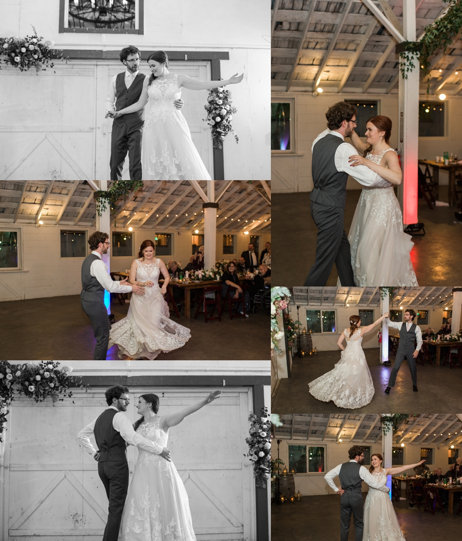 Photo of bride and groom's first dance at Snohomish Wedding Venue Dairyland Barn near Seattle | Joanna Monger Photography