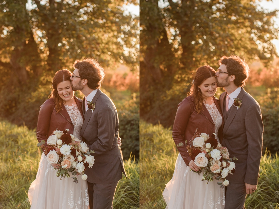 Photo of bride and groom at sunset at Snohomish Wedding Venue Dairyland Barn near Seattle | Joanna Monger Photography