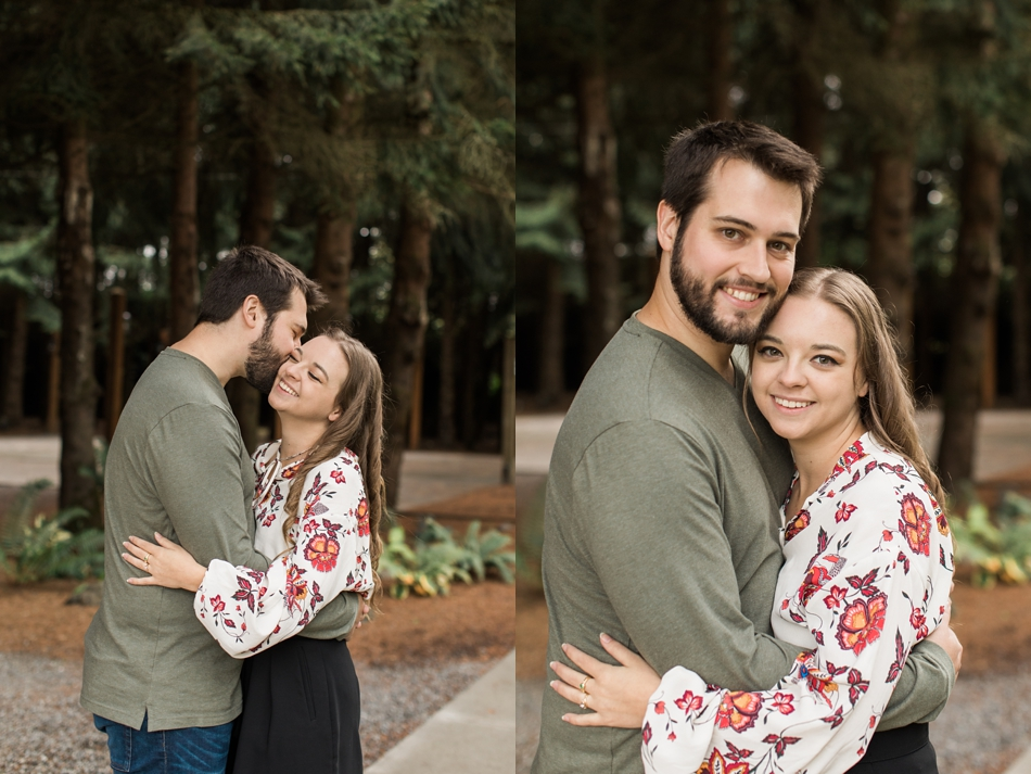 candid and relaxed engagement photos in woods in Snohomish, WA