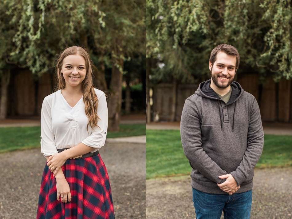 Headshots of couple at their engagement shoot in Snohomish