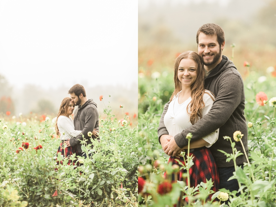 rainy engagement shoot in Seattle at Woodland Meadow Farms