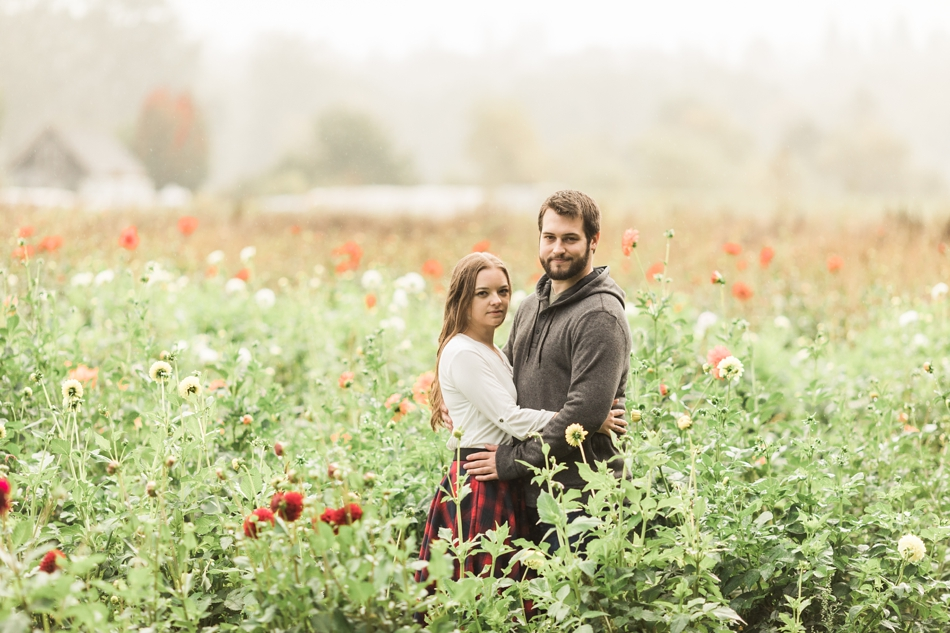 Snohomish Engagement photos at Woodland Meadow Farms in flower field
