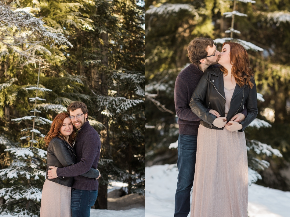 An engaged couple kisses in the snow during their Steven's Pass engagement shoot for their dreamy DIY wedding at Dairyland in Snohomish, a wedding venue near Seattle. | Joanna Monger Photography | Snohomish & Seattle Photographer
