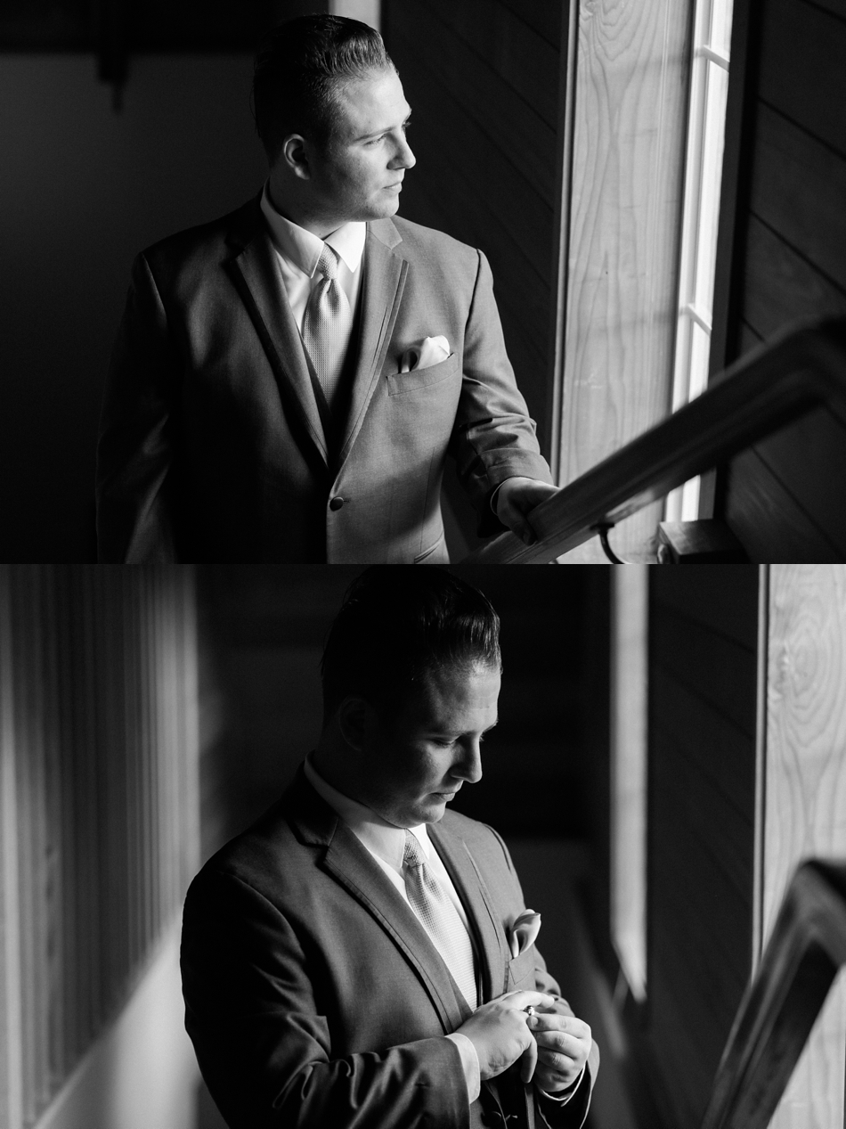 A black and white photo of a groom before his fall wedding at the Loft at Russell's in Bothell, a wedding venue near Seattle. | Joanna Monger Photography | Snohomish & Seattle Wedding Photographer