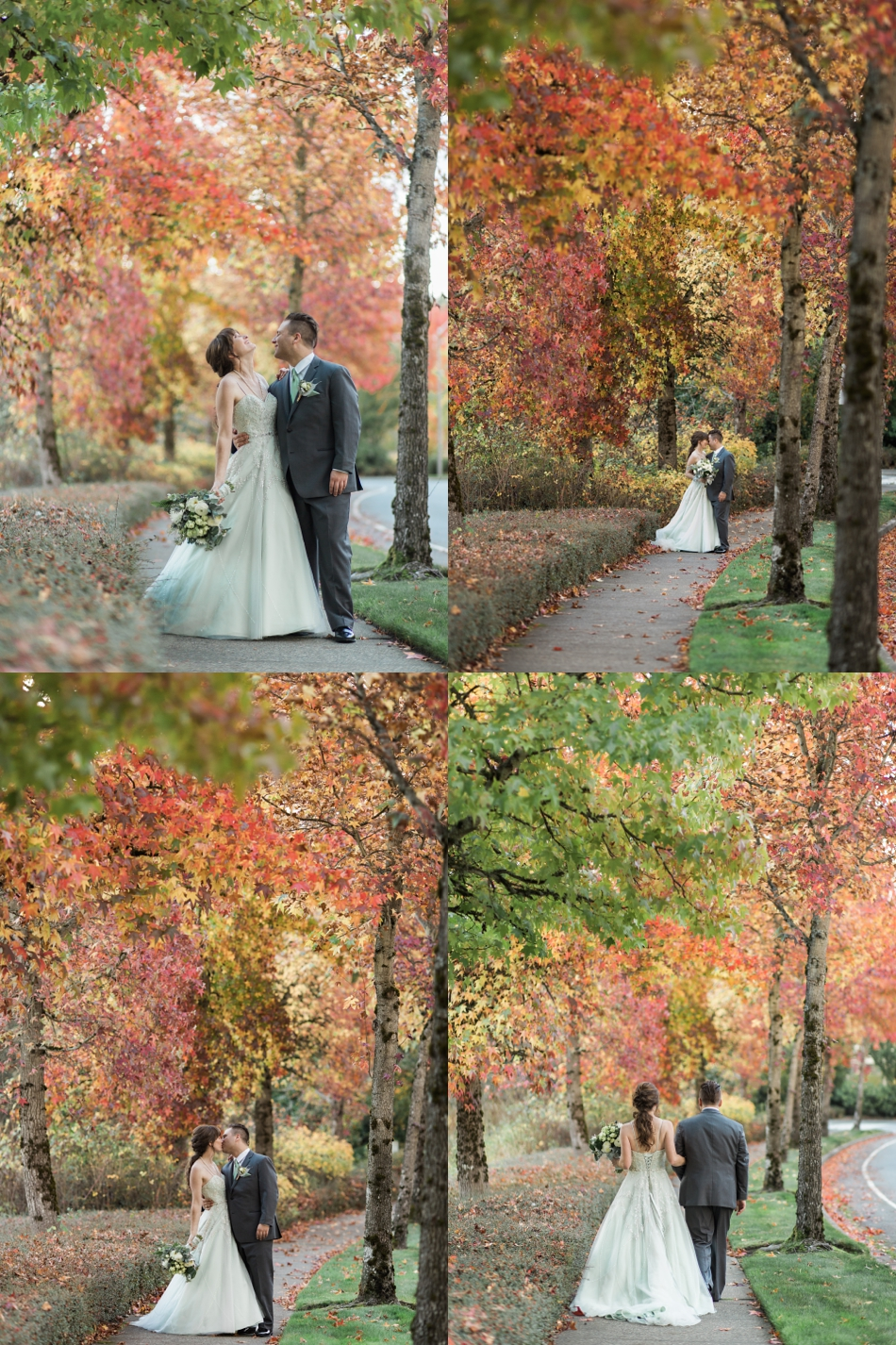 A bride and groom embrace while standing in beautiful fall-colored woods before their fall wedding at the Loft at Russell's in Bothell, a wedding venue near Seattle. | Joanna Monger Photography | Snohomish & Seattle Wedding Photographer