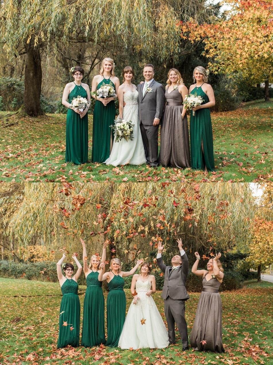 A photo of a wedding party outdoors before a fall wedding at the Loft at Russell's in Bothell, a wedding venue near Seattle. | Joanna Monger Photography | Snohomish & Seattle Wedding Photographer