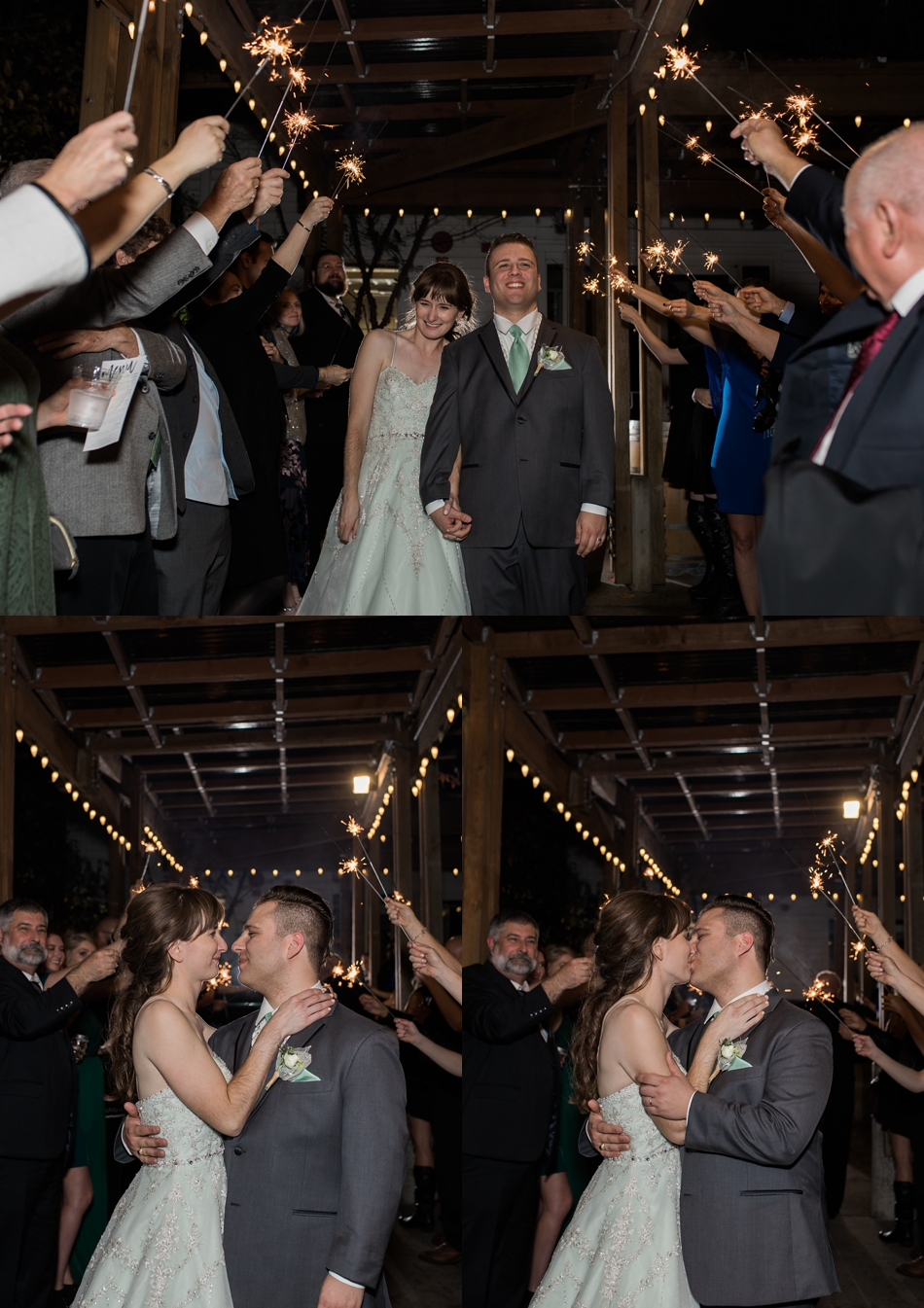 A photo of bride and groom during their sparkler send-off after their fall wedding at the Loft at Russell's in Bothell, a wedding venue near Seattle. | Joanna Monger Photography | Snohomish & Seattle Wedding Photographer