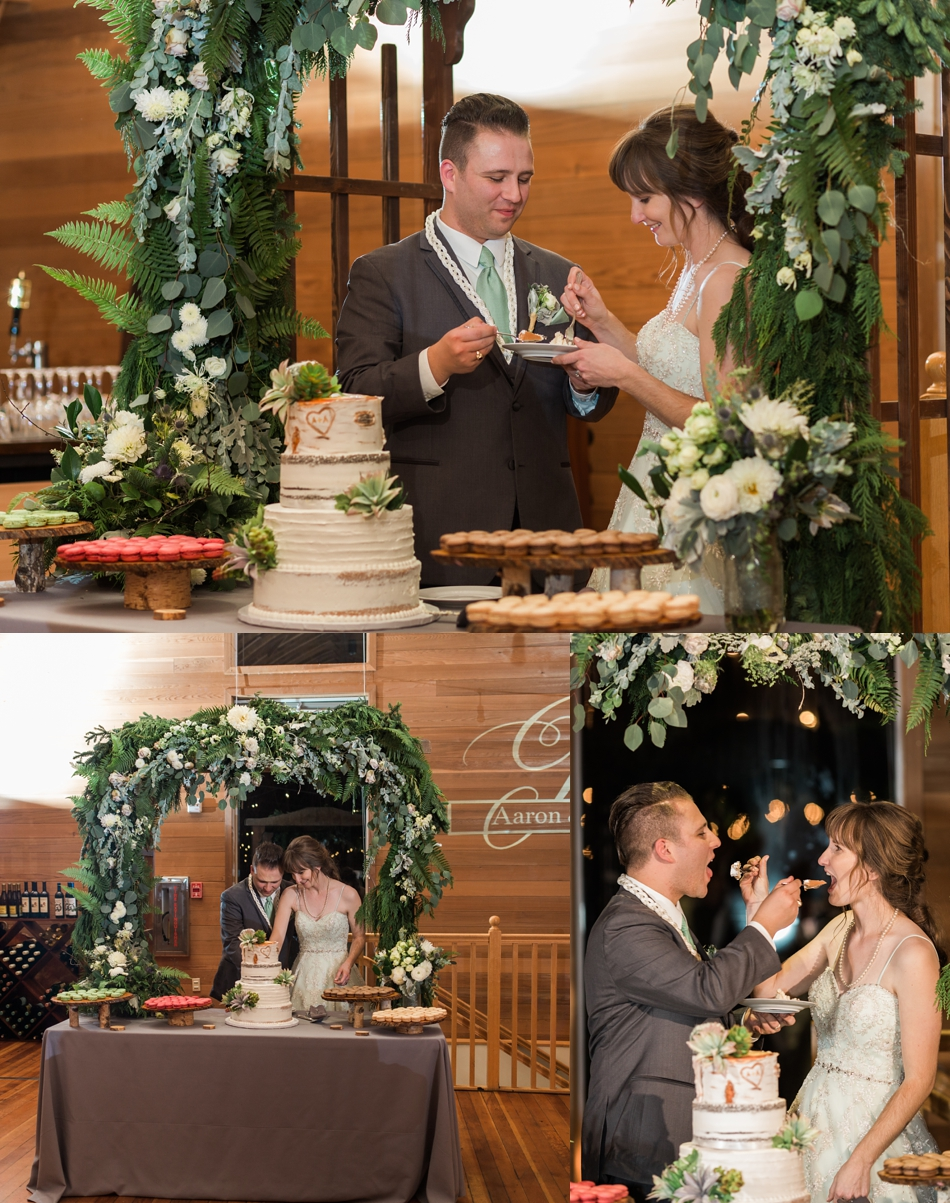 A photo of a bride and groom serving each other wedding cake during a fall wedding at the Loft at Russell's in Bothell, a wedding venue near Seattle. | Joanna Monger Photography | Snohomish & Seattle Wedding Photographer