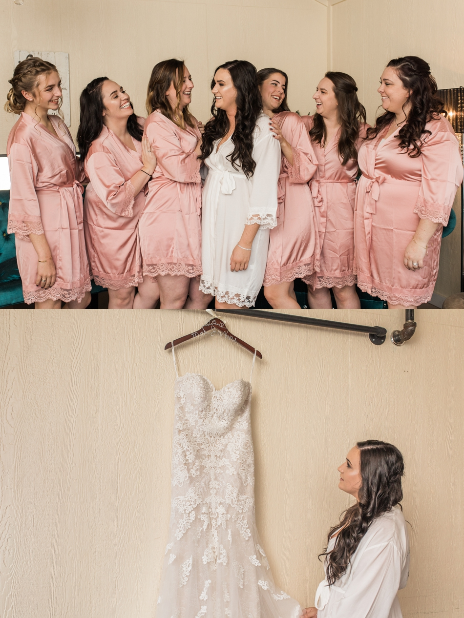 A photo of a bride and her bridesmaids getting ready before a winter wedding at Hidden Meadows in Snohomish, a wedding venue near Seattle, WA. | Joanna Monger Photography | Snohomish & Seattle Wedding Photographer