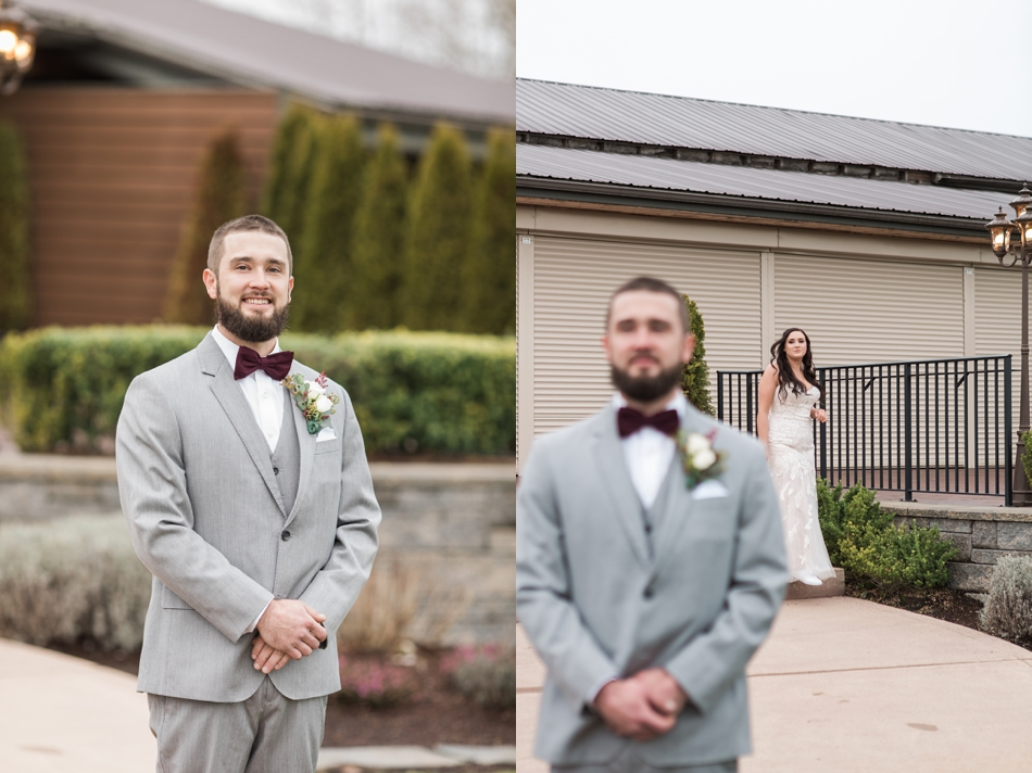 A groom stands in anticipation of a first look of his bride before winter wedding at Hidden Meadows in Snohomish, a wedding venue near Seattle, WA. | Joanna Monger Photography | Snohomish & Seattle Wedding Photographer