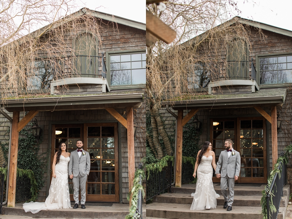 A bride and groom hold hands before their winter wedding at Hidden Meadows in Snohomish, a wedding venue near Seattle, WA. | Joanna Monger Photography | Snohomish & Seattle Wedding Photographer