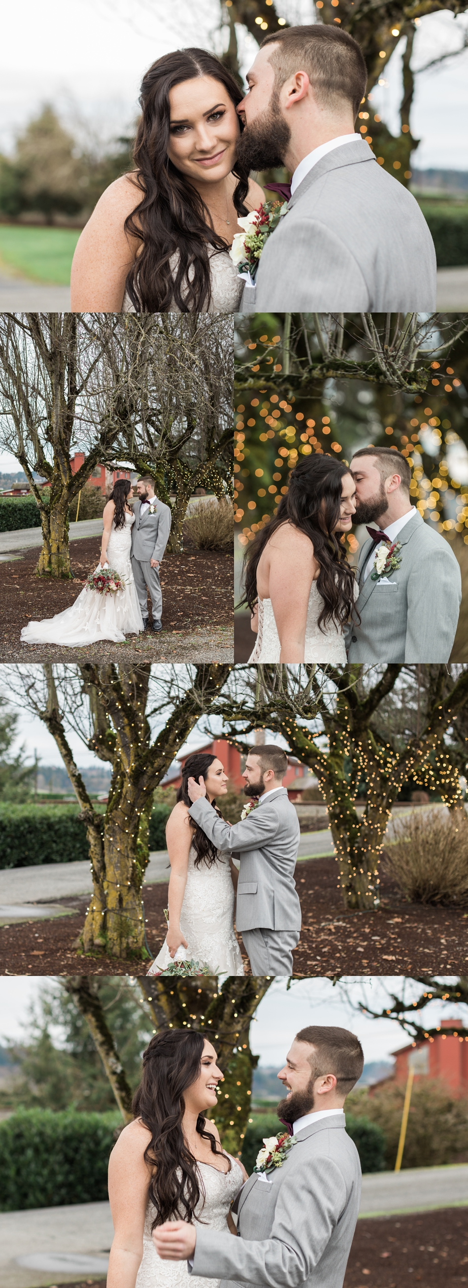 A bride and groom embrace and kiss before their winter wedding at Hidden Meadows in Snohomish, a wedding venue near Seattle, WA. | Joanna Monger Photography | Snohomish & Seattle Wedding Photographer