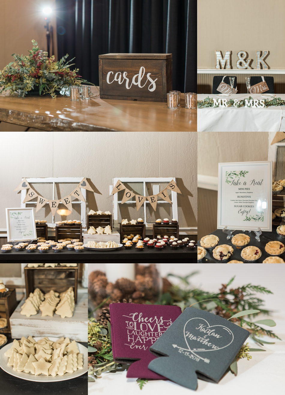 A photo of the dessert bar at a winter wedding at Hidden Meadows in Snohomish, a wedding venue near Seattle, WA. | Joanna Monger Photography | Snohomish & Seattle Wedding Photographer