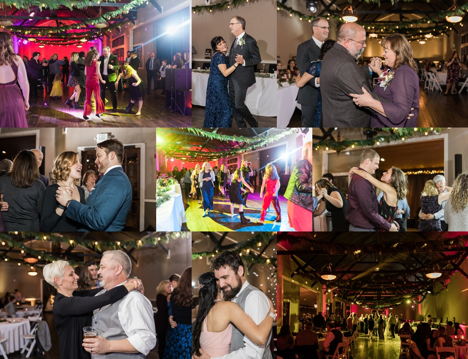 A photo of guests dancing during a winter wedding at Hidden Meadows in Snohomish, a wedding venue near Seattle, WA. | Joanna Monger Photography | Snohomish & Seattle Wedding Photographer