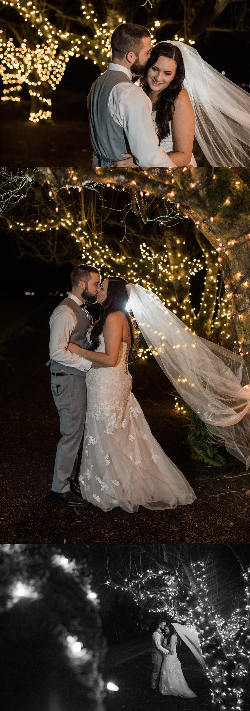 A bride and groom embrace and kiss during their winter wedding at Hidden Meadows in Snohomish, a wedding venue near Seattle, WA. | Joanna Monger Photography | Snohomish & Seattle Wedding Photographer