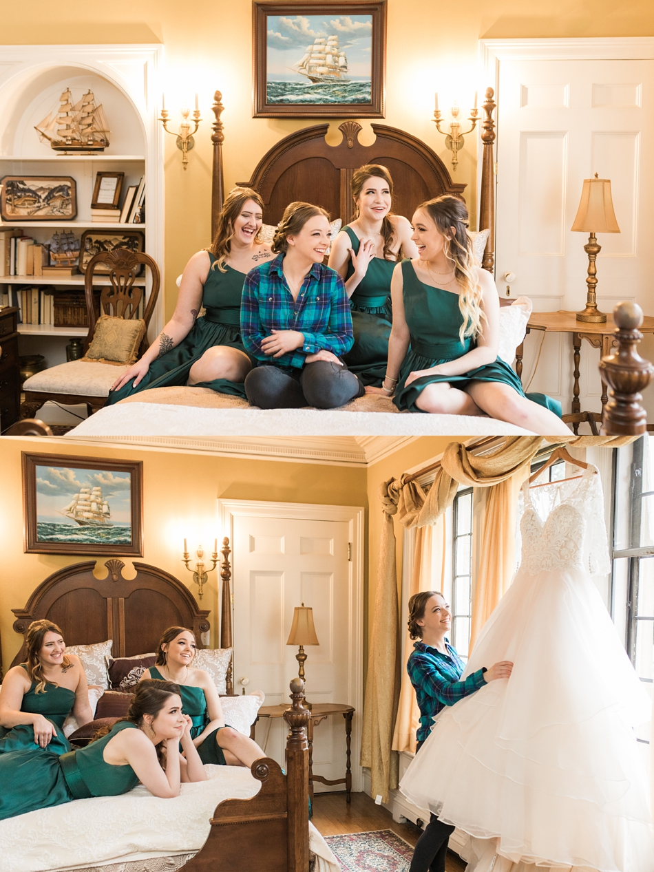 A bride sits with her bridal party while getting ready for her regal winter wedding at Thornewood Castle in Lakewood, a wedding venue near Seattle, WA. | Joanna Monger Photography | Seattle & Snohomish Wedding Photographer