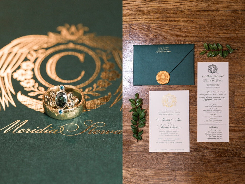 A photo of wedding details from a regal winter wedding at Thornewood Castle in Lakewood, a wedding venue near Seattle, WA. | Joanna Monger Photography | Seattle & Snohomish Wedding Photographer