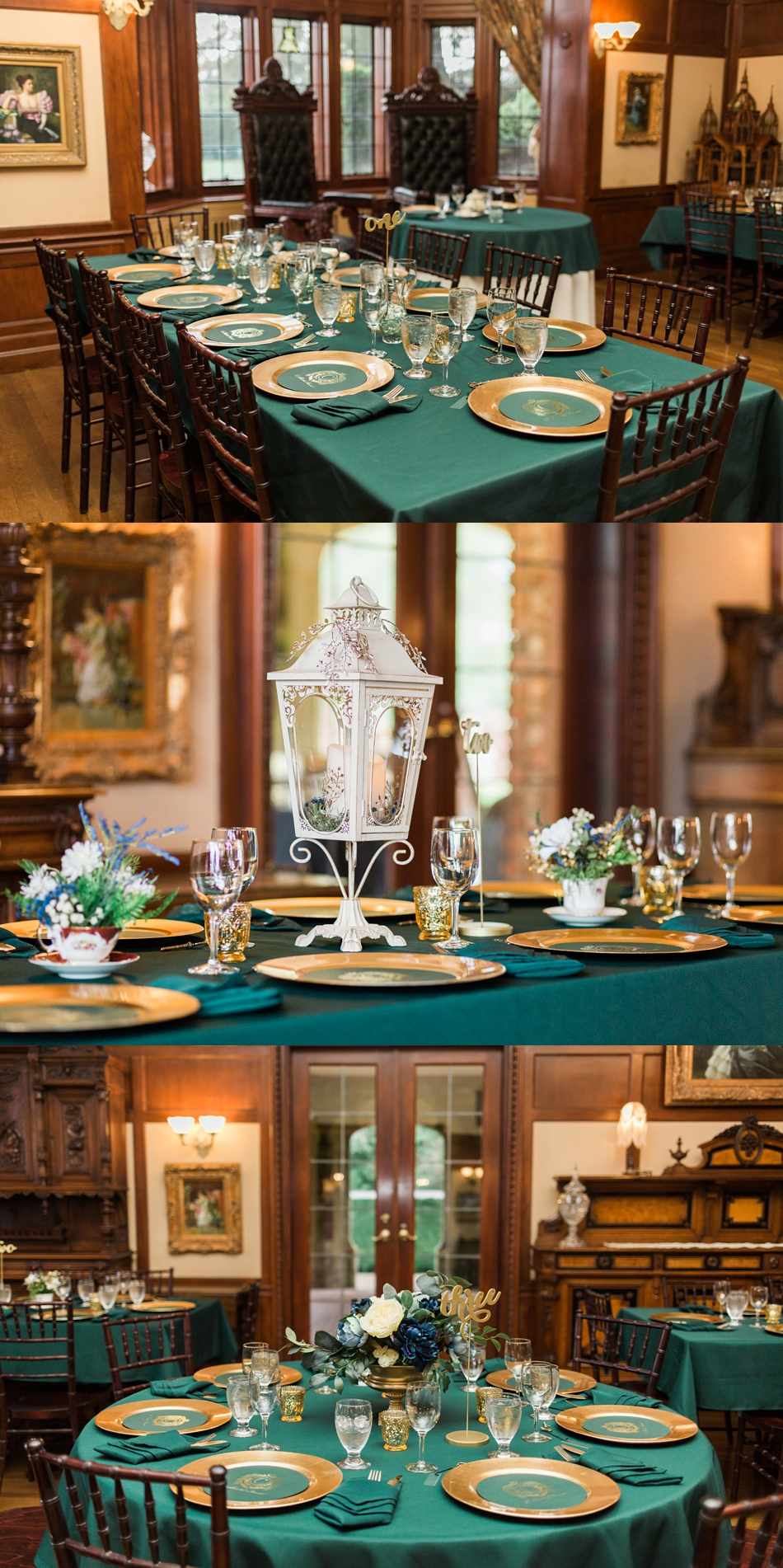 A photo of the tablescape from a regal winter wedding at Thornewood Castle in Lakewood, a wedding venue near Seattle, WA. | Joanna Monger Photography | Seattle & Snohomish Wedding Photographer