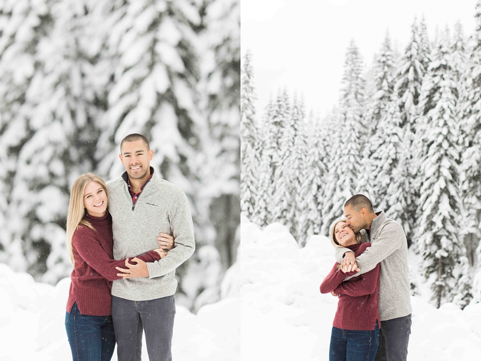 Photos from a winter snow engagement shoot at Snoqualmie Pass for a summer wedding at Twin Willows in Snohomish, a wedding venue near Seattle, WA. | Joanna Monger Photography | Snohomish Wedding Photographer