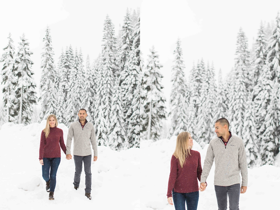 Photos from a winter snow engagement session for a summer wedding at Twin Willows in Snohomish, a wedding venue near Seattle, WA. | Joanna Monger Photography | Snohomish Wedding Photographer