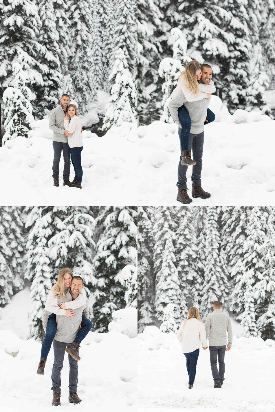 Pictures from an outdoor winter snow engagement shoot at Snoqualmie Pass near Seattle, WA. | Joanna Monger Photography | Snohomish Wedding Photographer