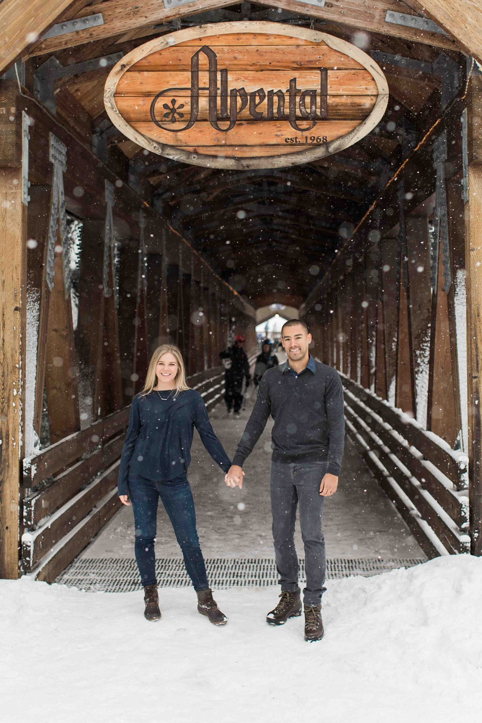 Photo from an outdoor winter snow engagement photo session for a wedding at Twin Willows in Snohomish, a wedding venue near Seattle, WA. | Joanna Monger Photography | Snohomish Wedding Photographer
