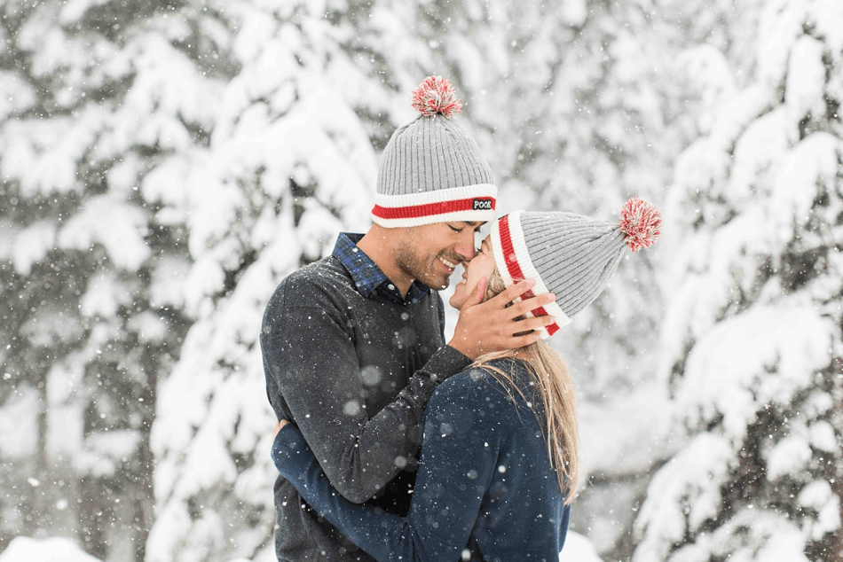 Photo from an outdoor winter snow engagement photography session at Snoqualmie Pass near Seattle, WA. | Joanna Monger Photography | Snohomish Wedding Photographer