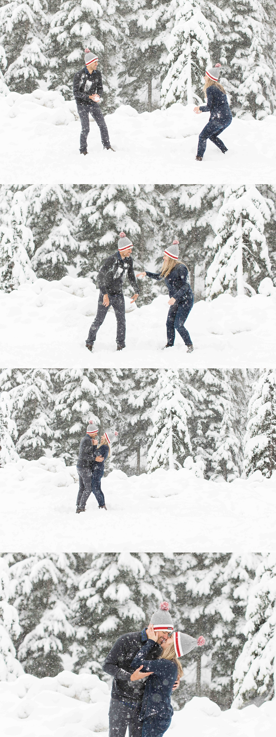 Fun outdoor winter snow engagement photos for a wedding at Twin Willows in Snohomish, a wedding venue near Seattle, WA. | Joanna Monger Photography | Snohomish Wedding Photographer