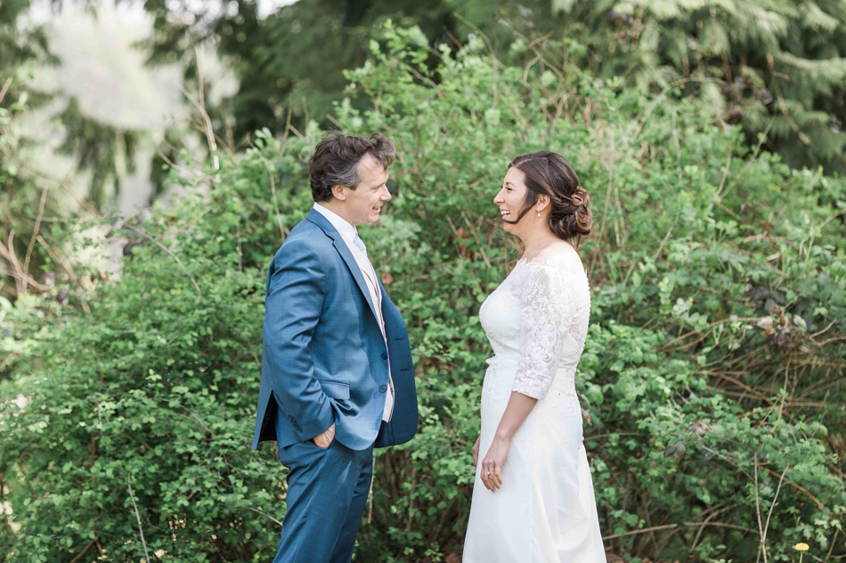 A couple gazes at each other before their intimate wedding at Belle Chapel in Snohomish, a wedding venue near Seattle, WA. | Joanna Monger Photography | Snohomish Wedding Photographer