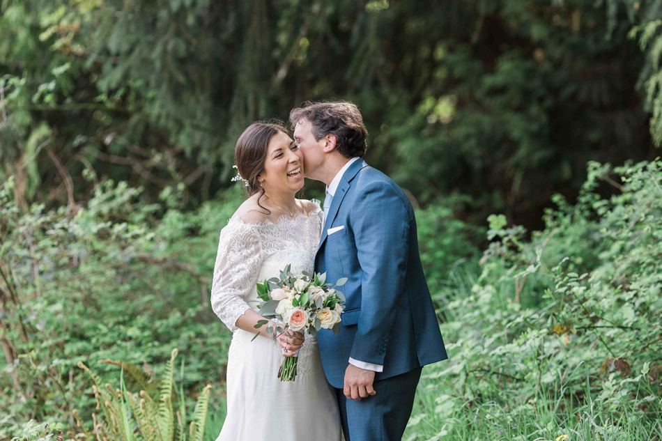 Couple portrait of a bride and groom before their intimate wedding at Belle Chapel in Snohomish, a wedding venue near Seattle, WA. | Joanna Monger Photography | Snohomish Wedding Photographer