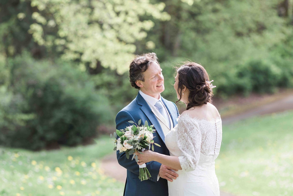 Outdoor photo of a bride and groom before their intimate wedding at Belle Chapel in Snohomish, a wedding venue near Seattle, WA. | Joanna Monger Photography | Snohomish Wedding Photographer