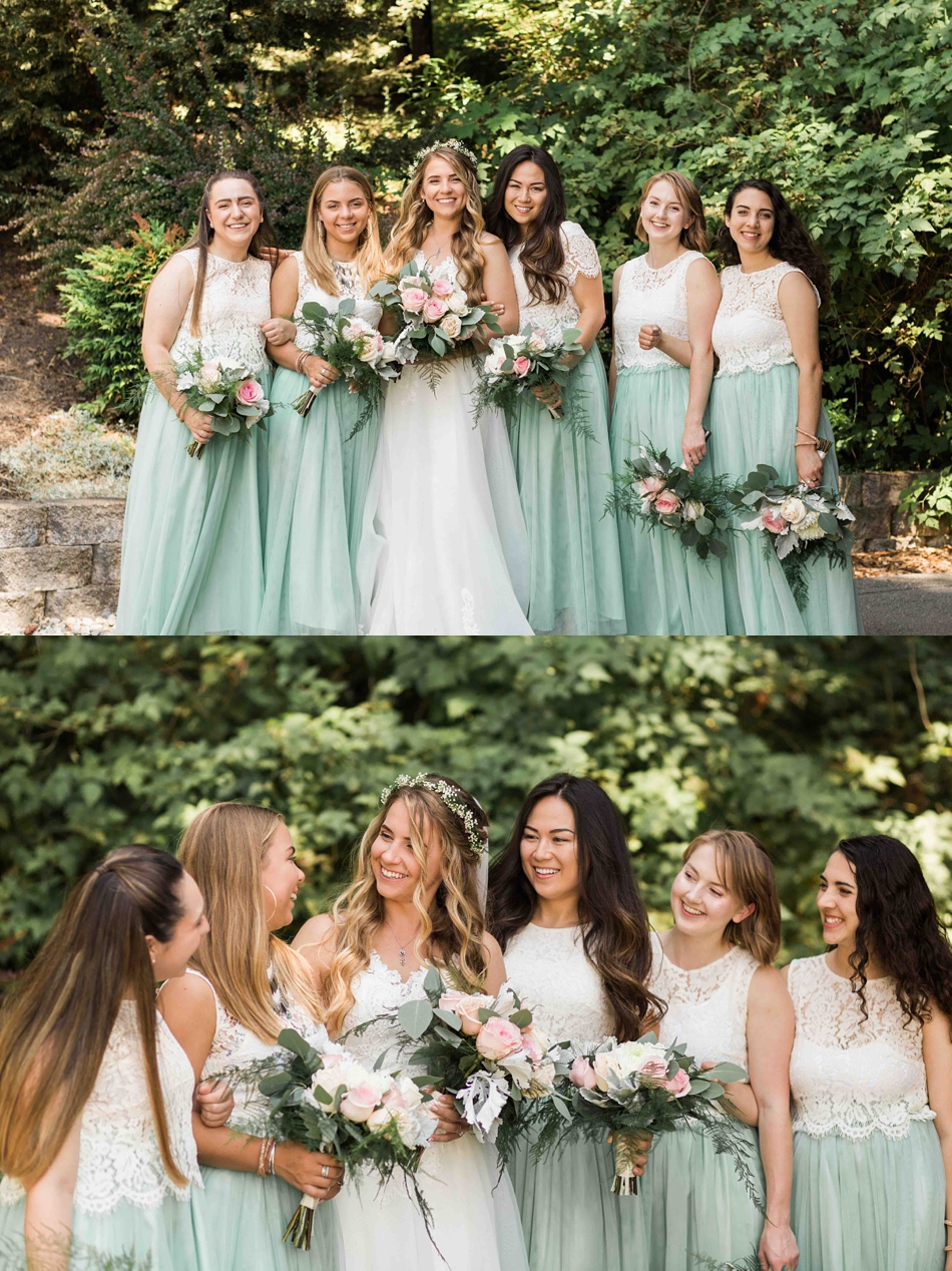 Bridesmaids and bride at Twin Willow Gardens in Snohomish. Photographs by Joanna Monger Photography, Award Winning Snohomish Wedding Photographer.