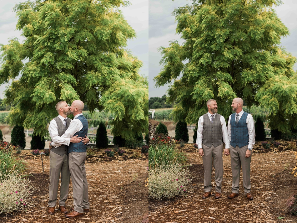 The couple in love at Falling Water Gardens in Monroe. Photographs by Joanna Monger Photography, Snohomish's Best Wedding Photographer.