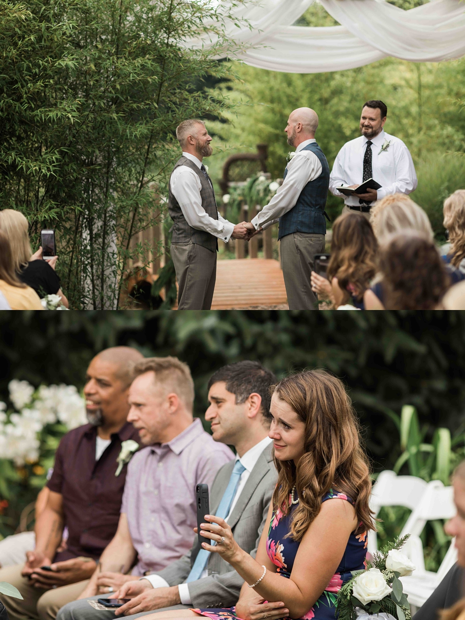 Saying I do at Falling Water Gardens in Monroe. Photos by Joanna Monger Photography, Snohomish and Seattle Wedding Photographer.