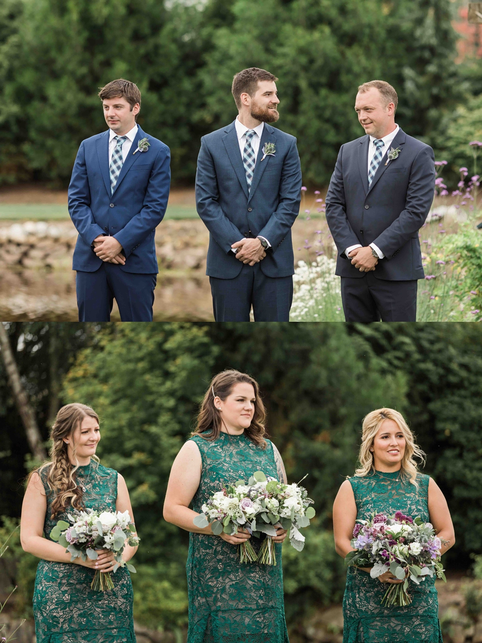 The wedding party watches at Pine Creek Nursery in Monroe. Photos by Joanna Monger Photography, Snohomish and Seattle Wedding Photographer.