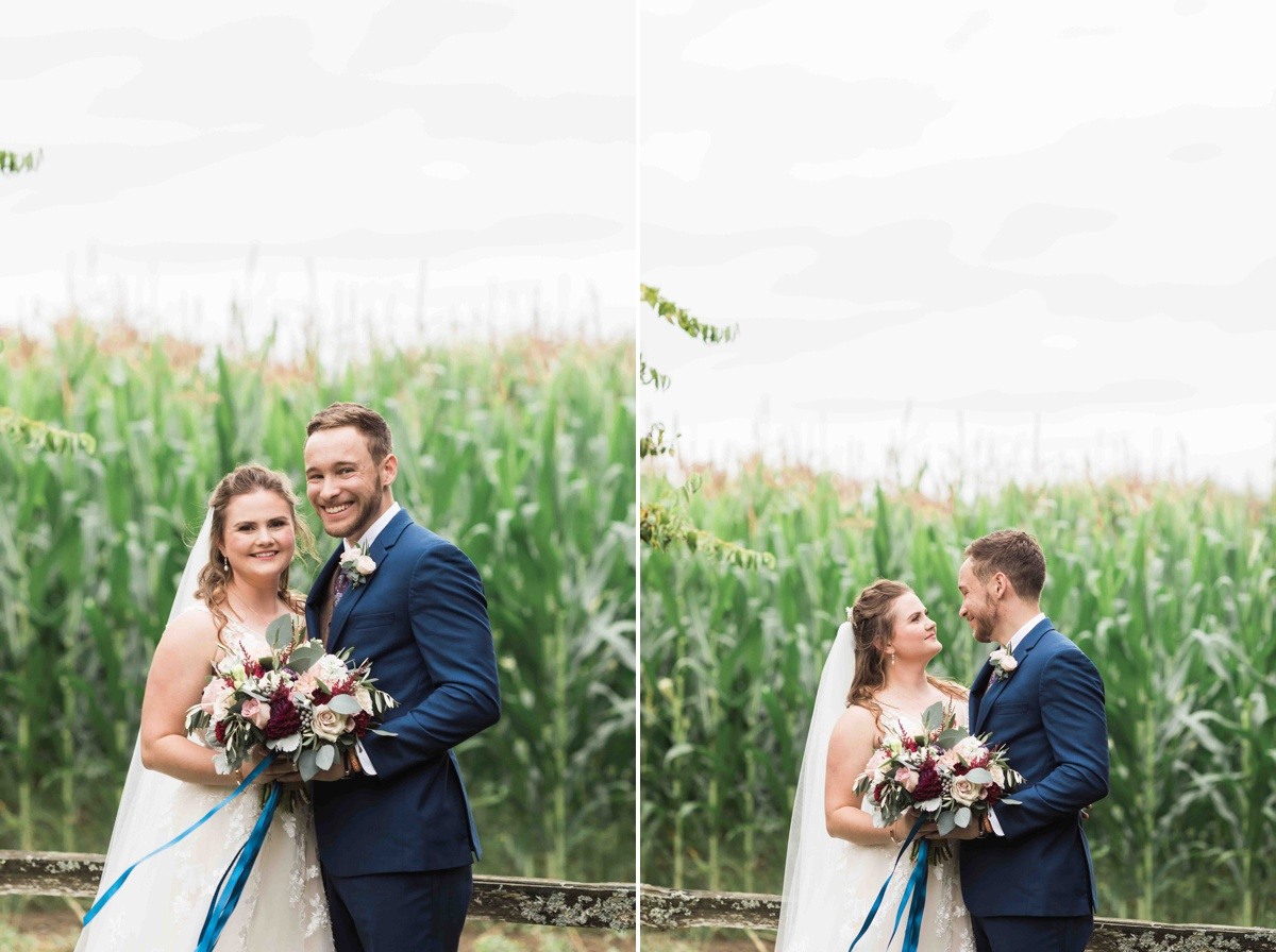 Bride and groom standing together at Craven Farms in Snohomish. Photos by Joanna Monger Photography, Snohomish and Seattle Wedding Photographer.
