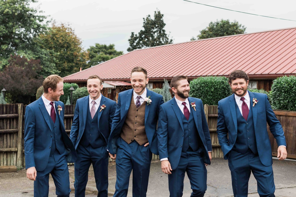 Groom and groomsmen at Craven Farms in Snohomish. Photographs by Joanna Monger Photography, Award Winning Snohomish Wedding Photographer.