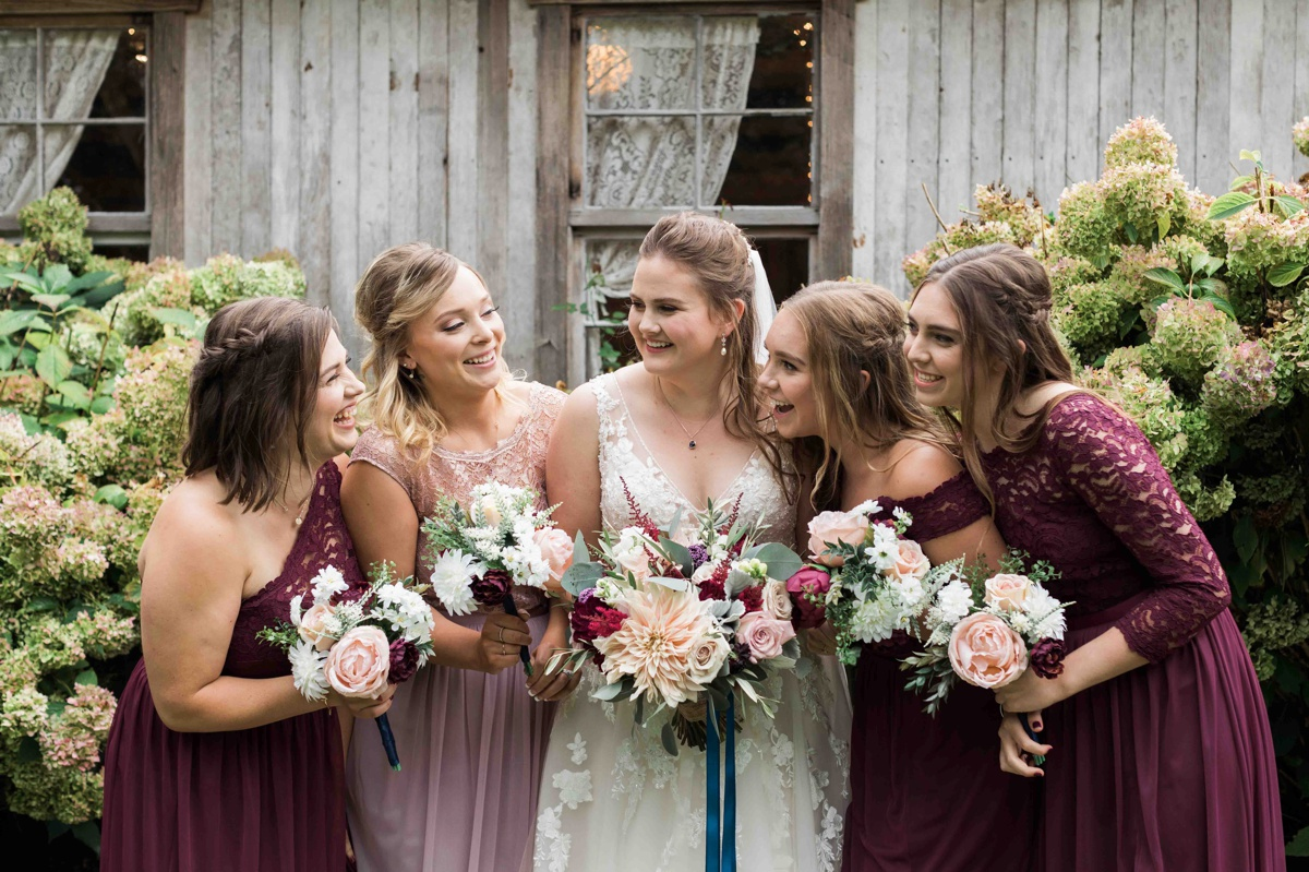 Bride and bridesmaids at Craven Farms in Snohomish. Photographs by Joanna Monger Photography, Snohomish's Best Wedding Photographer.