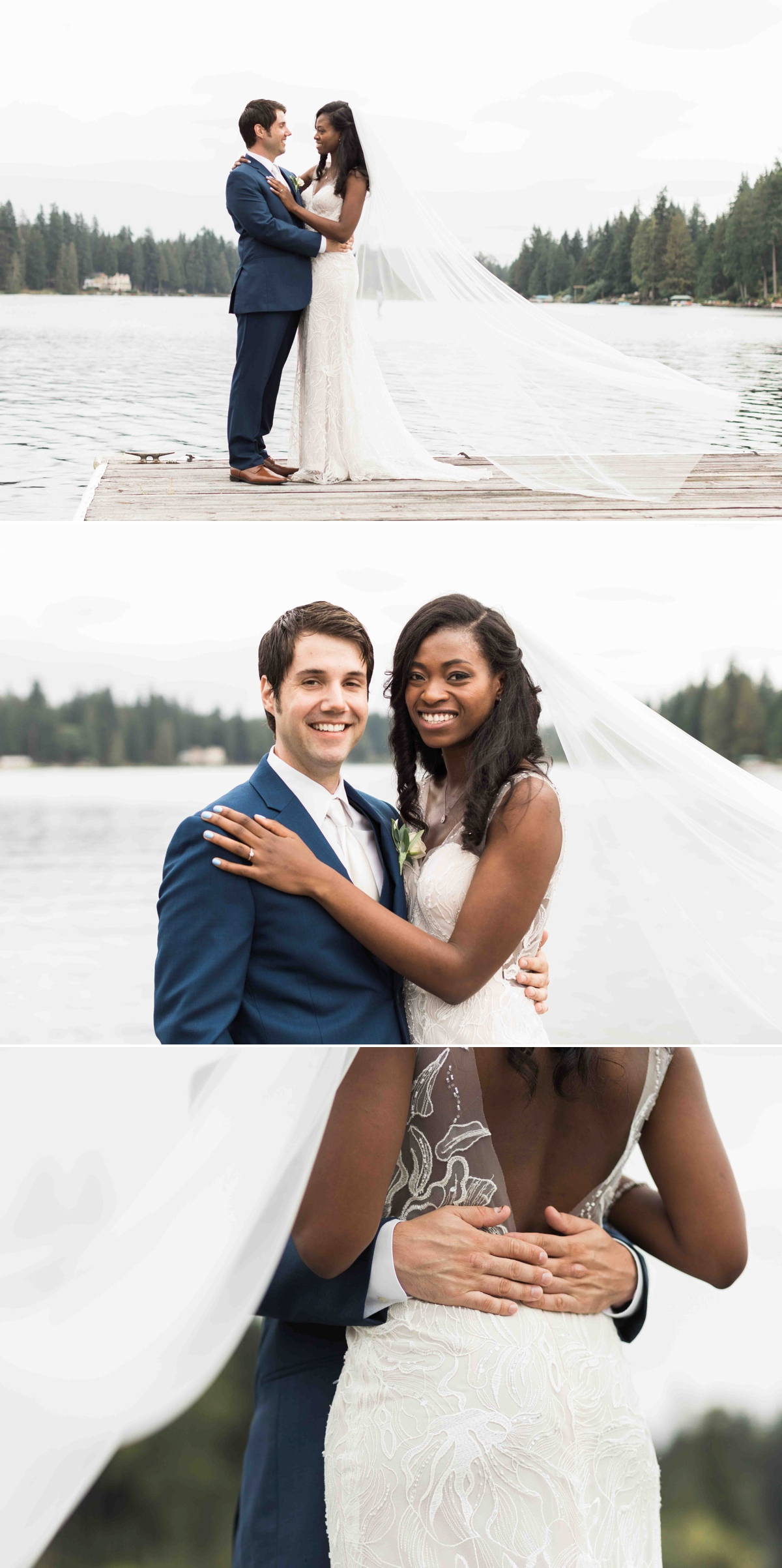 The happy married couple at Green Gates at Flowing Lake. Photographs by Joanna Monger Photography, Award Winning Snohomish Wedding Photographer.