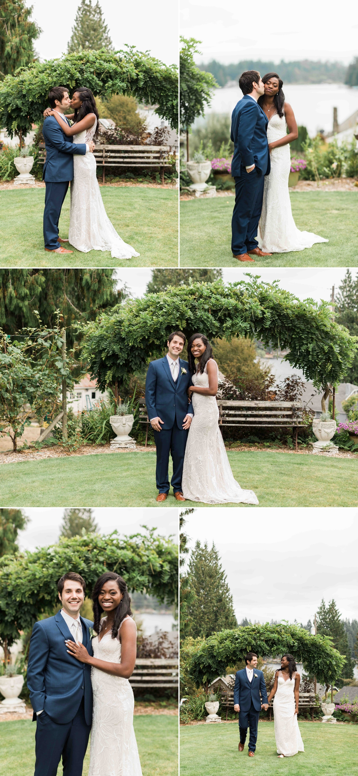 Bride and groom in front of beautiful arbor at Green Gates at Flowing Lake. Photographs by Joanna Monger Photography, Award Winning Snohomish Wedding Photographer.