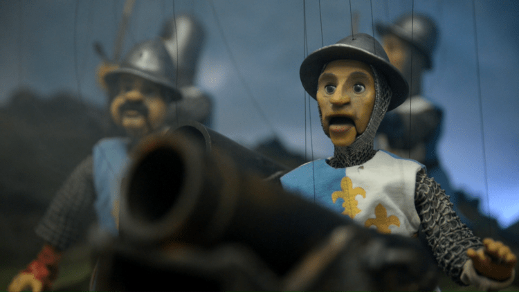 French soldiers man the cannons