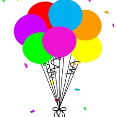 7 balloons filled with helium and tied together with a string.