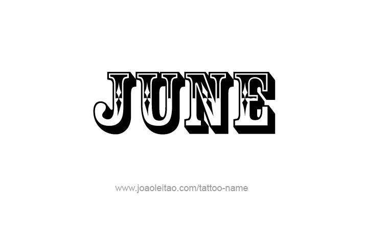 June Name Tattoo Designs