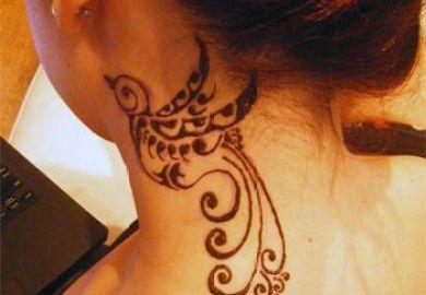 Female Neck Tattoo Designs