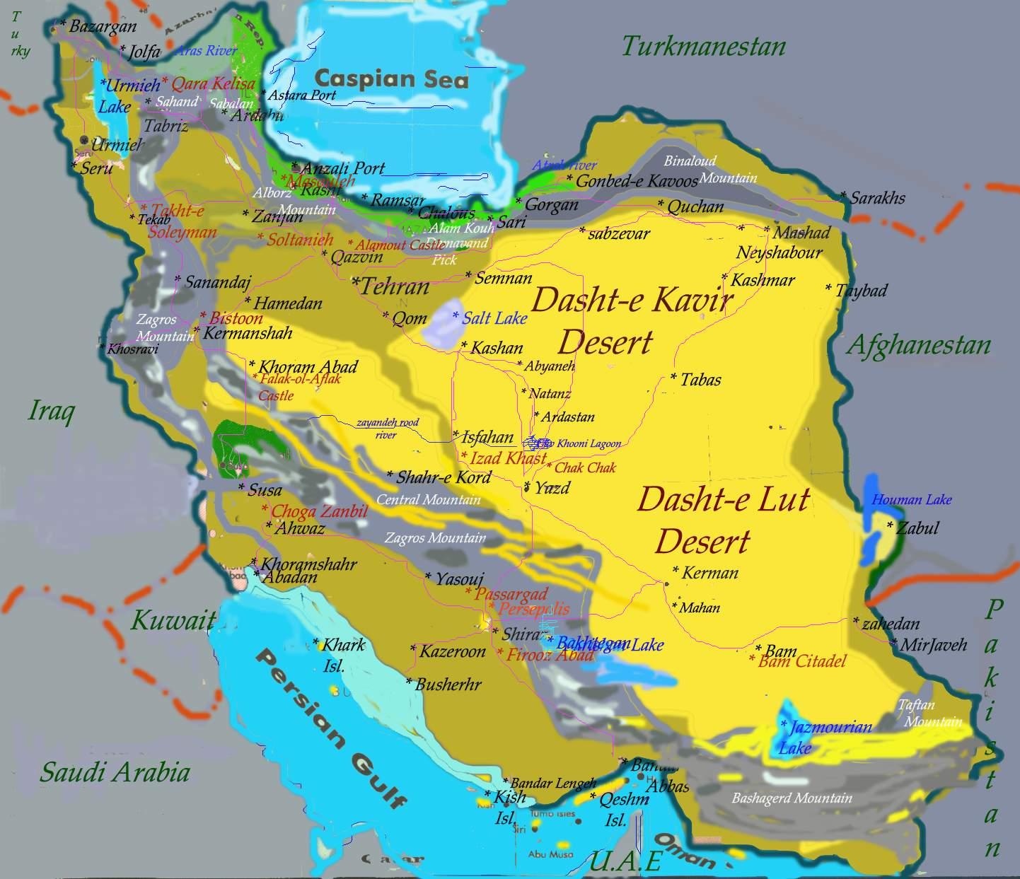 irão mapa Dasht E Kavir Desert Map irão mapa