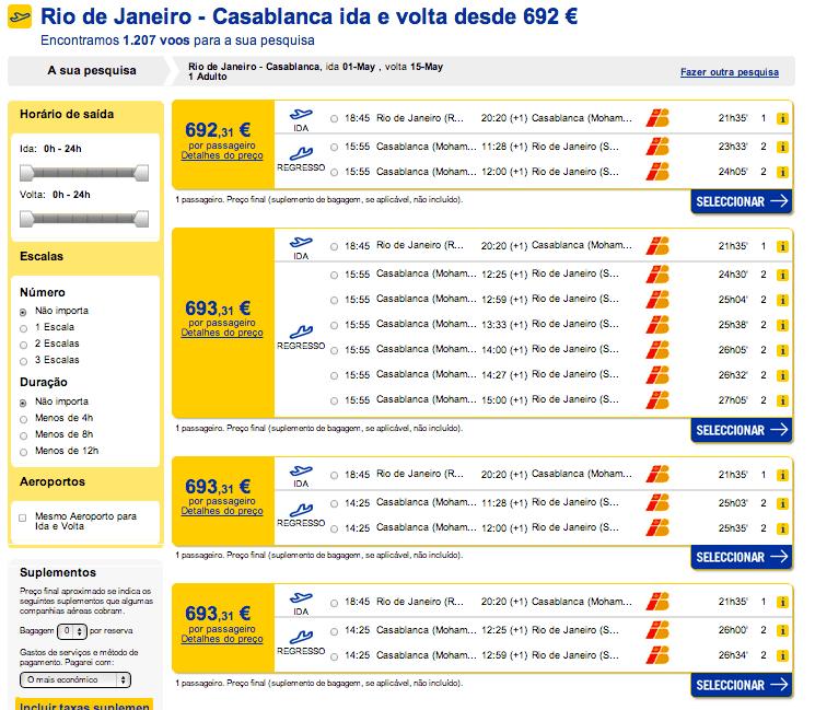 Resultados preços de bilhete de avião Brail até Marrocos