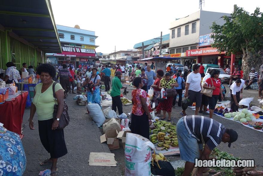 Mercado de rua em Nadi nas Fiji